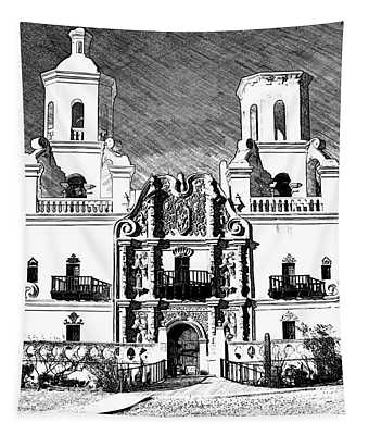 Mission San Xavier Del Bac - Bw Sketch Tapestry