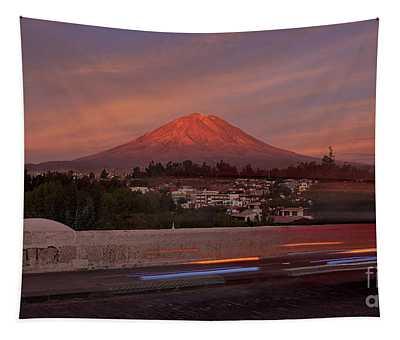 Misti Volcano In Arequipa, Peru, South America Tapestry