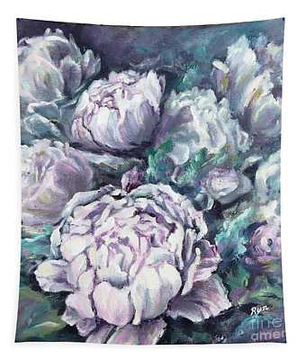 Misty Morning Peonies Tapestry