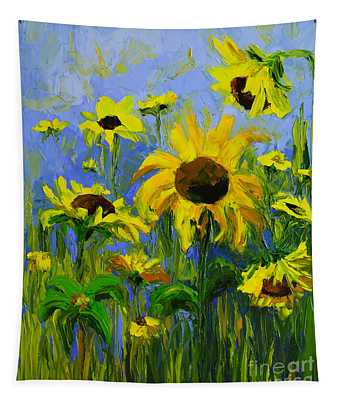 Misty Morning - Sunflower Field Oil Painting, Landscape Art Tapestry