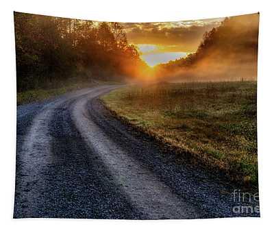 Misty October Sunrise Tapestry