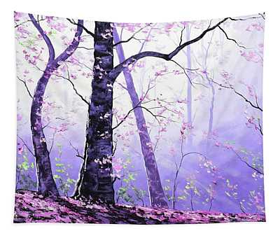 Misty Pink Trees Forest Tapestry