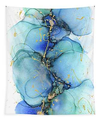 Mixed Media Abstract Petals Painting Tapestry