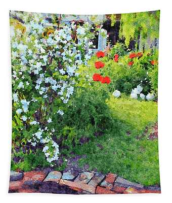 Mock Orange And Poppies Tapestry