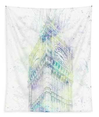 Modern Art Big Ben - Pastel Watercolor  Tapestry