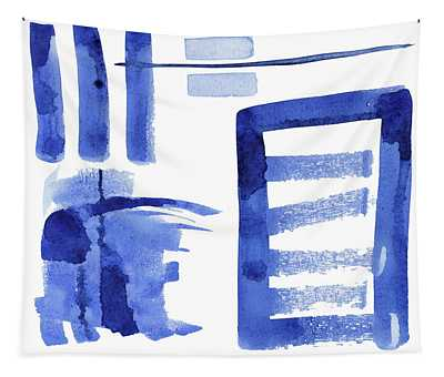 Modern Asian Inspired Abstract Blue And White 2 Tapestry