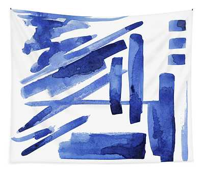 Modern Asian Inspired Abstract Blue And White 3 Tapestry
