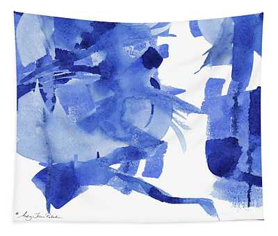 Modern Asian Inspired Abstract Blue And White 4 Tapestry