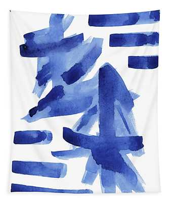 Modern Asian Inspired Abstract Blue And White Tapestry