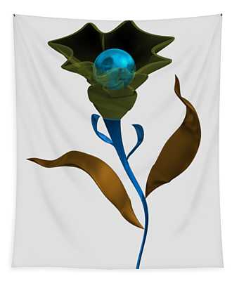 Modern Flower With Blue Sphere Tapestry
