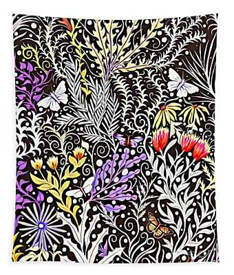Modern Tapestry Design In Black, White, Purple And Yellow Tapestry