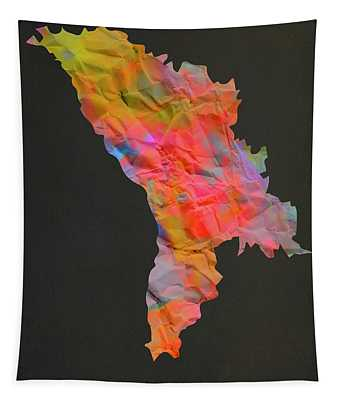 Moldova Tie Dye Country Map Tapestry