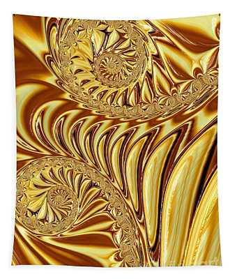 Molten Liquid Gold Fractal Abstract Tapestry