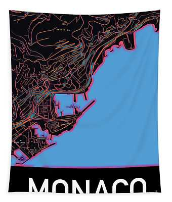 Tapestry featuring the digital art Monaco City Map by Helge