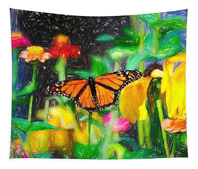 Monarch Butterfly Colored Pencil Tapestry