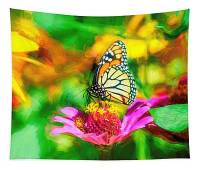 Monarch Butterfly Impasto Colorful Tapestry