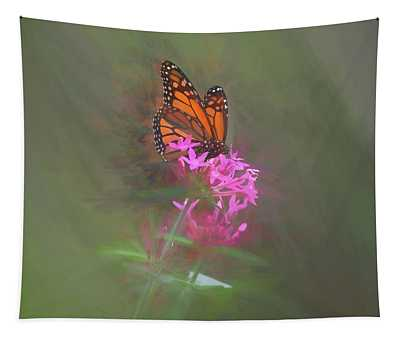 Monarch Butterfly On A Pink Flower Tapestry