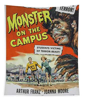 Monster On The Campus Movie Poster Tapestry