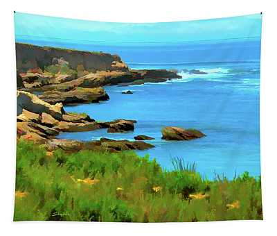 Montana De Oro State Park Watercolor Tapestry