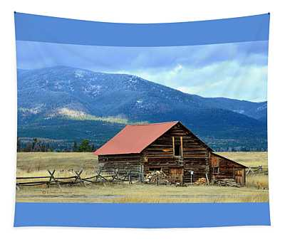 Montana Ranch Building Tapestry