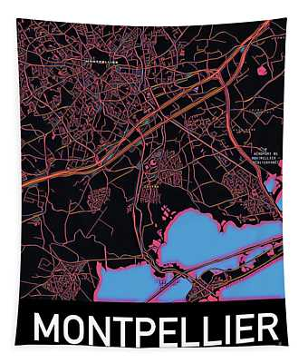 Montpellier City Map Tapestry