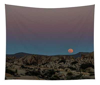 Moon Above Joshua Tree Tapestry