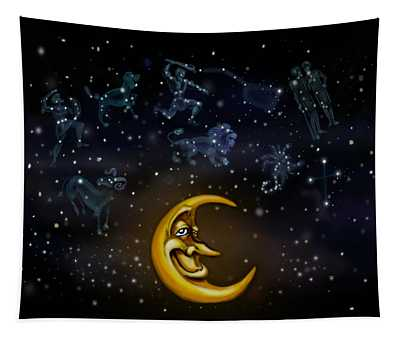 Moon And Constellations Tapestry