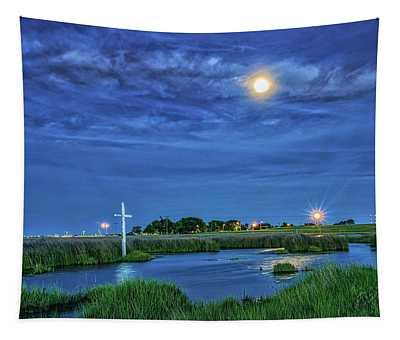 Moon Over The Marsh Cross Tapestry