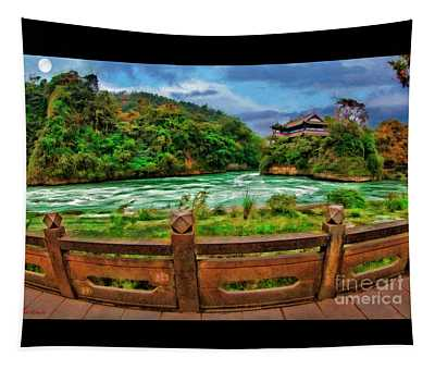 Moon Rise Over Dujiangyan Irrigation System Tapestry