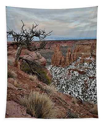 Moon Rising Over Grand View Point In Colorado National Monument Tapestry