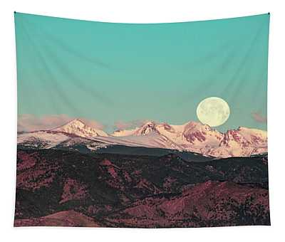 Moonlight Over Colorado Mountains Tapestry