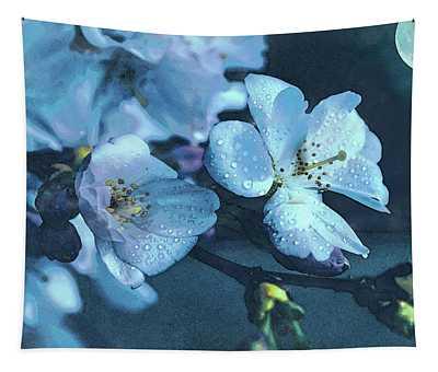 Moonlit Night In The Blooming Garden Tapestry