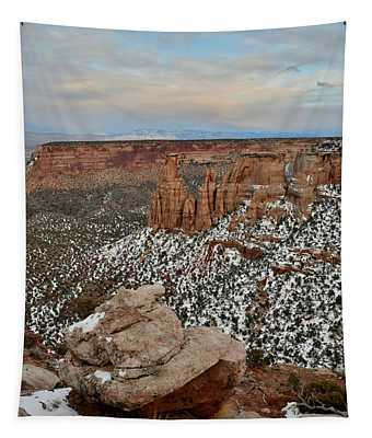 Moonrise Over Colorado National Monument Tapestry