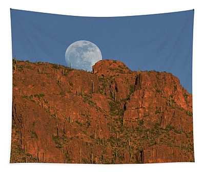 Moonrise Over The Tucson Mountains Tapestry