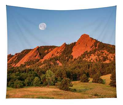 Moonset Over The Flatirons Tapestry