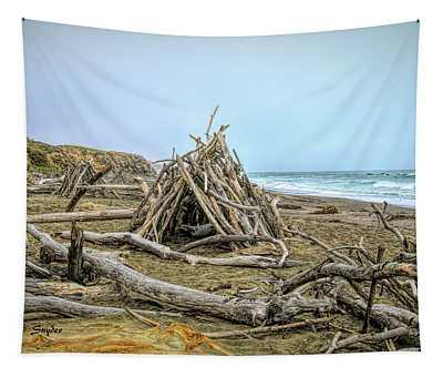 Moonstone Beach Driftwood Beach House Tapestry