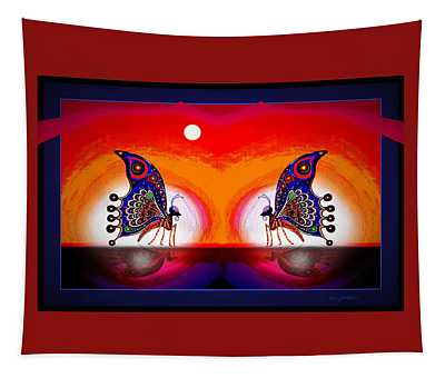 Tapestry featuring the mixed media More Butterflies... by Hartmut Jager