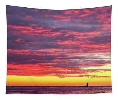 Morning Fire Over Whaleback Light Tapestry