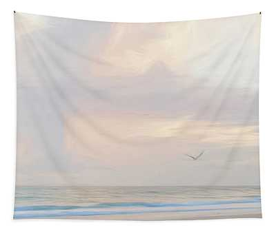 Morning Walk On The Beach Panorama Tapestry
