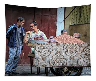 Moroccan Selling Nuts Streets Of Fes Tapestry