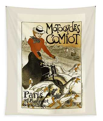 Motocycles Comiot Vintage French Advertising Tapestry