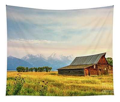 Moulton Barn Against The Tetons Tapestry