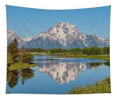 Mount Moran On Snake River Landscape Tapestry