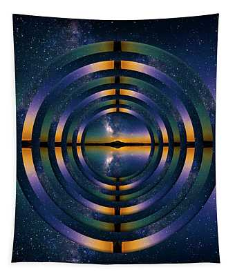 Mount Rainier And The Milky Way Reflection Circles Tapestry