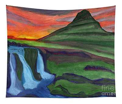 Mountain And Waterfall In The Rays Of The Setting Sun Tapestry