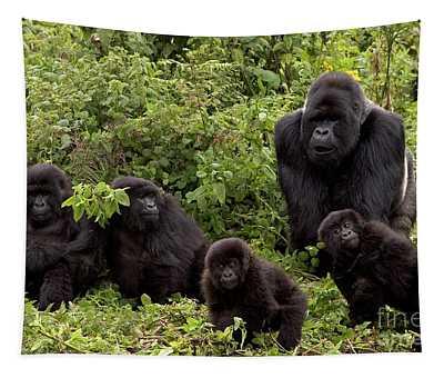 Mountain Gorilla Family Tapestry