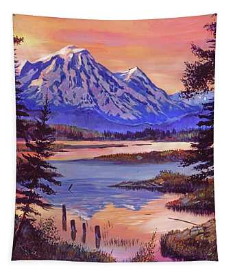 Mountain Lakeshore At First Light Tapestry