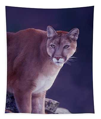Mountain Lion In The Rockies Tapestry