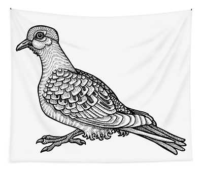 Tapestry featuring the drawing Mourning Dove by Amy E Fraser