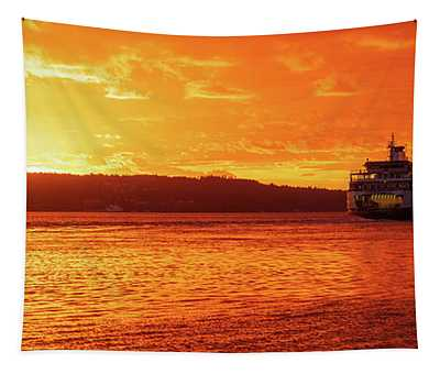 Mukilteo Ferry On Puget Sound Sunset Reflection Tapestry